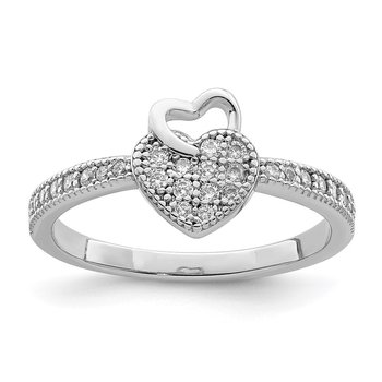 Sterling Silver Hearts Rhodium plated CZ Ring