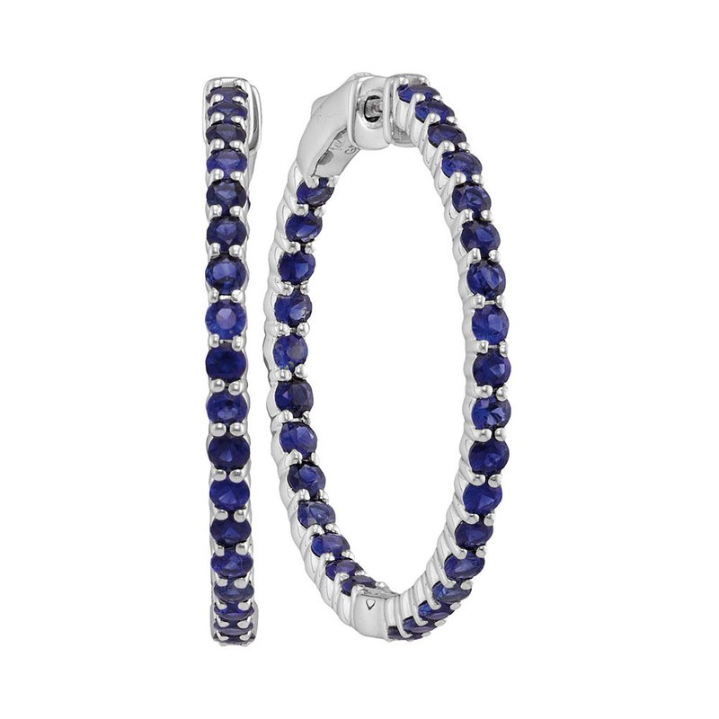 Details about  /1.75 Ct Prong Set Round Cut Blue Sapphire Dangle Hoop Earrings 14k White Gold GP