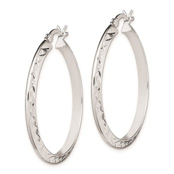 Sterling Silver Rhodium Plated Hinged Earrings