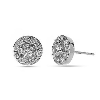 14K WG Diamond Circular Halo Forever Center of My Universe Stud Earring RBL Center 1/8 cts.