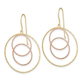 14k Yellow & Rose D/C Graduated Circles Shepherd Hook Earrings