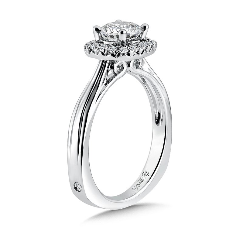 Caro74 Classic Elegance Collection Diamond Halo Engagement Ring in 14K White Gold with Platinum Head (3/4ct. tw.)
