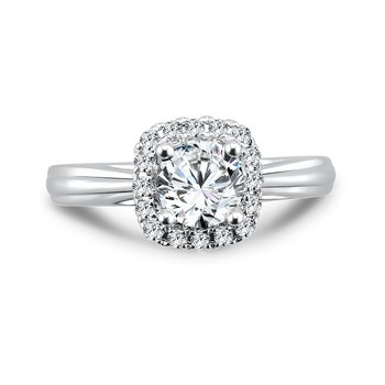Classic Elegance Collection Diamond Halo Engagement Ring in 14K White Gold with Platinum Head (3/4ct. tw.)
