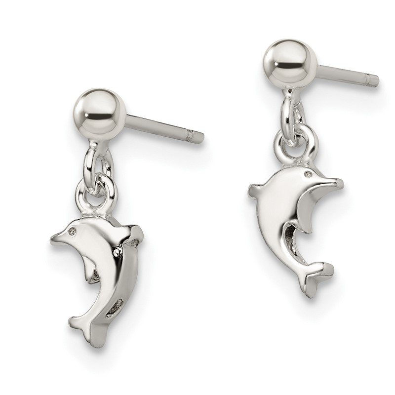 Quality Gold Sterling Silver Dangle Dolphin Post Earrings