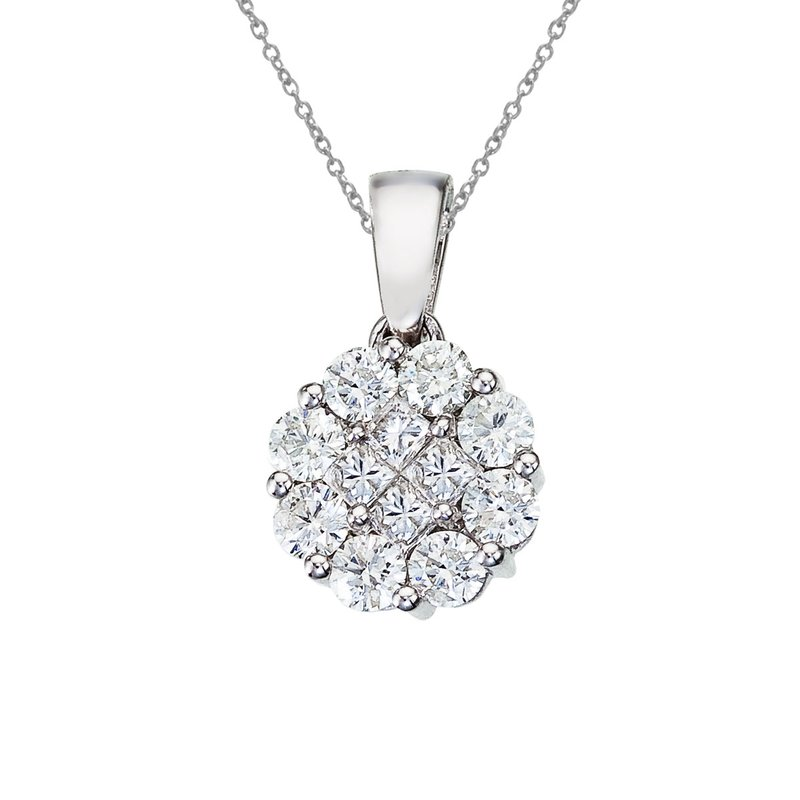 Color Merchants 14K White Gold 1 ct Diamond Clustaire Pendant