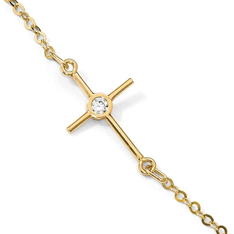 Leslie's 14k Polished CZ Cross Anklet