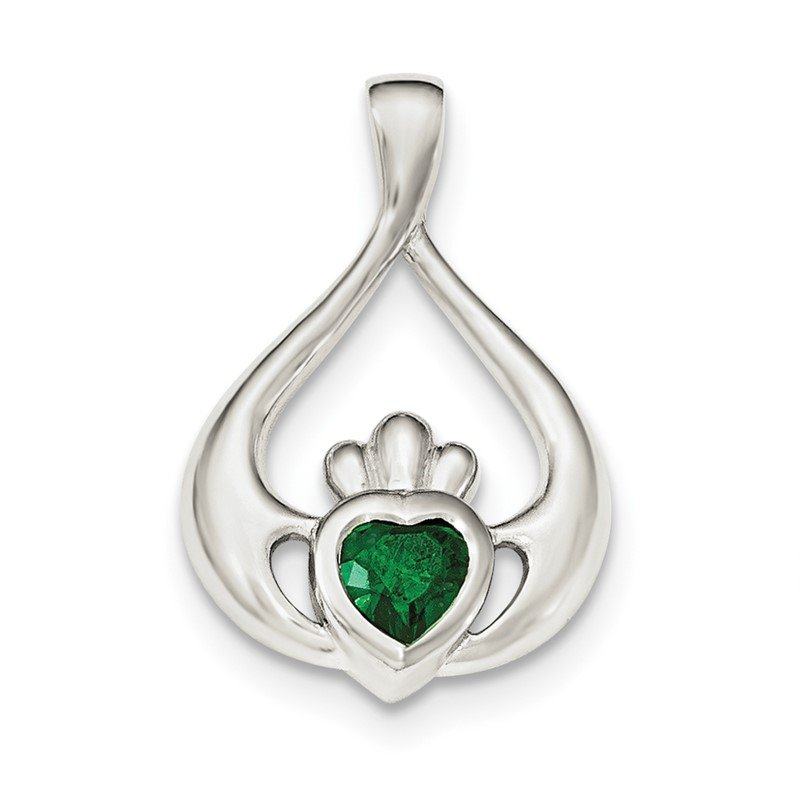 Quality Gold Sterling Silver Green CZ Heart Claddagh Pendant