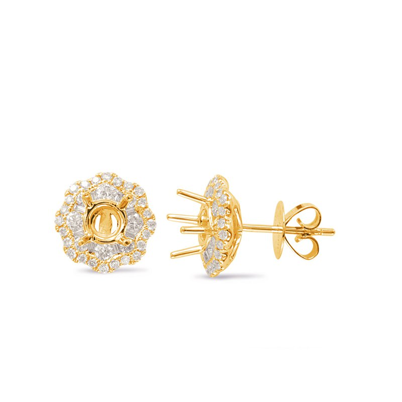 S. Kashi  & Sons Yellow Gold Halo Diamond Earring