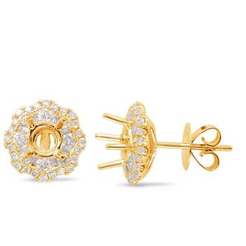 Yellow Gold Halo Diamond Earring