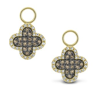 Champagne And White Diamond Clover Earring Charms in 14k Yellow Gold with 88 Diamonds weighing .35ct tw.