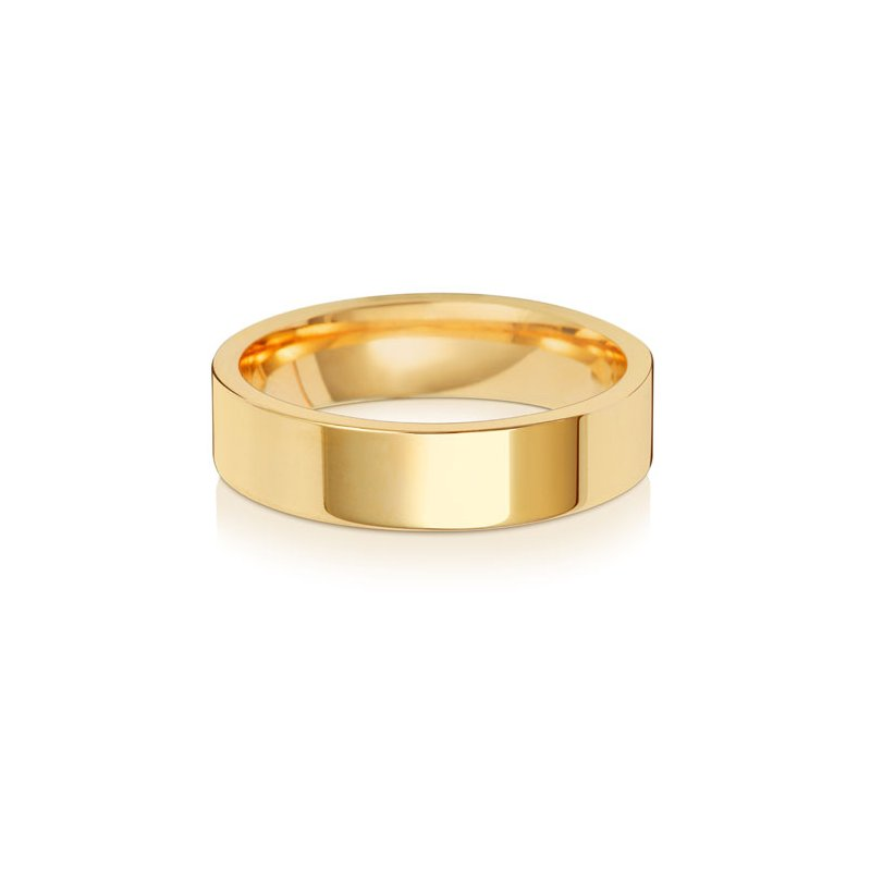 Treasure 18Ct Yellow Gold 5mm Flat Court Wedding Ring