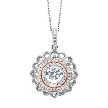 CZ Solitaire ROL Rhythm of Love Eternity Filigree Wreath Pendant in Sterling Silver
