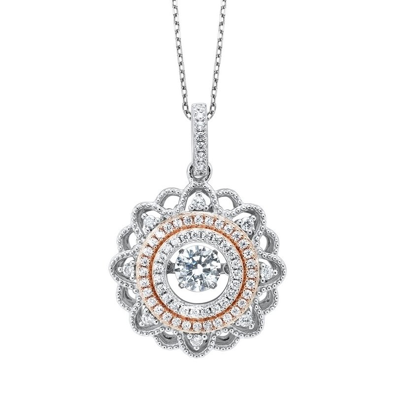 Gems One Diamond Solitaire ROL Rhythm of Love Eternity Filigree Wreath Pendant in Sterling Silver