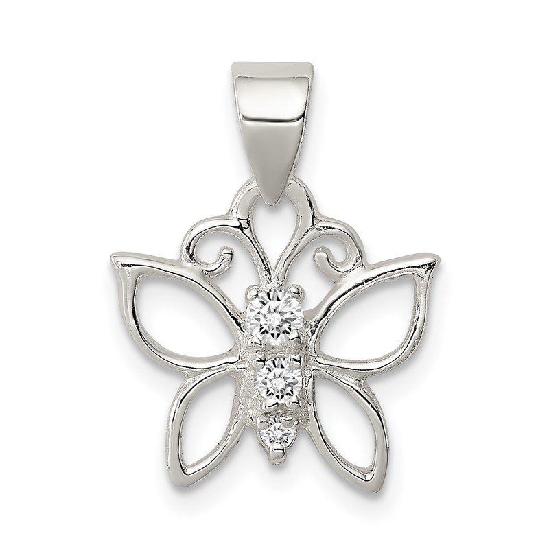 Quality Gold Sterling Silver CZ Butterfly Pendant