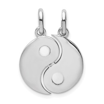 Sterling Silver Rhodium-plate Brush & Polished Yin Yang Break Apart Pendant