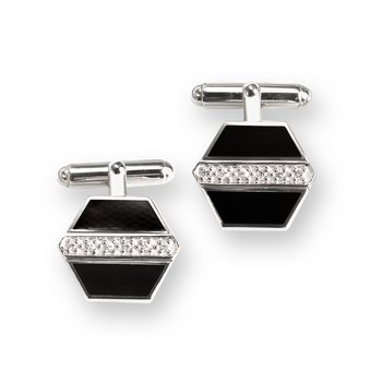 Sterling Silver Hexagon Cufflink-Black. White Sapphires