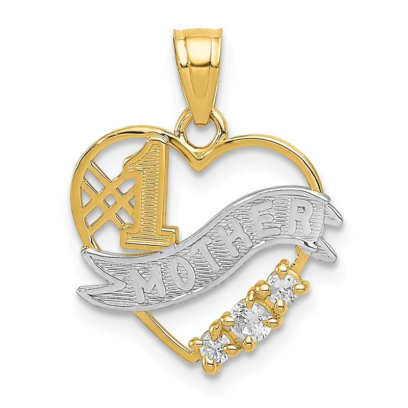 Quality Gold 14k w/Rhodium CZ #1 Mother Heart Pendant
