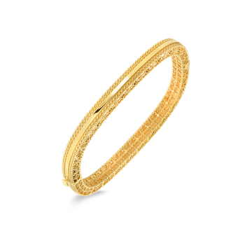 18Kt Gold Slim Bangle With Braided Edges