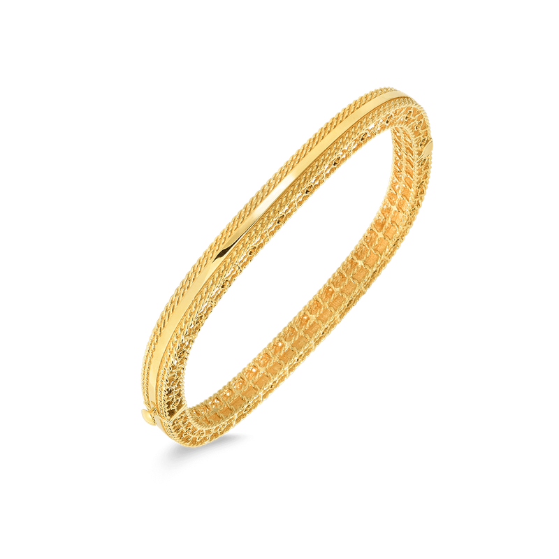 Roberto Coin 18Kt Gold Slim Bangle With Braided Edges