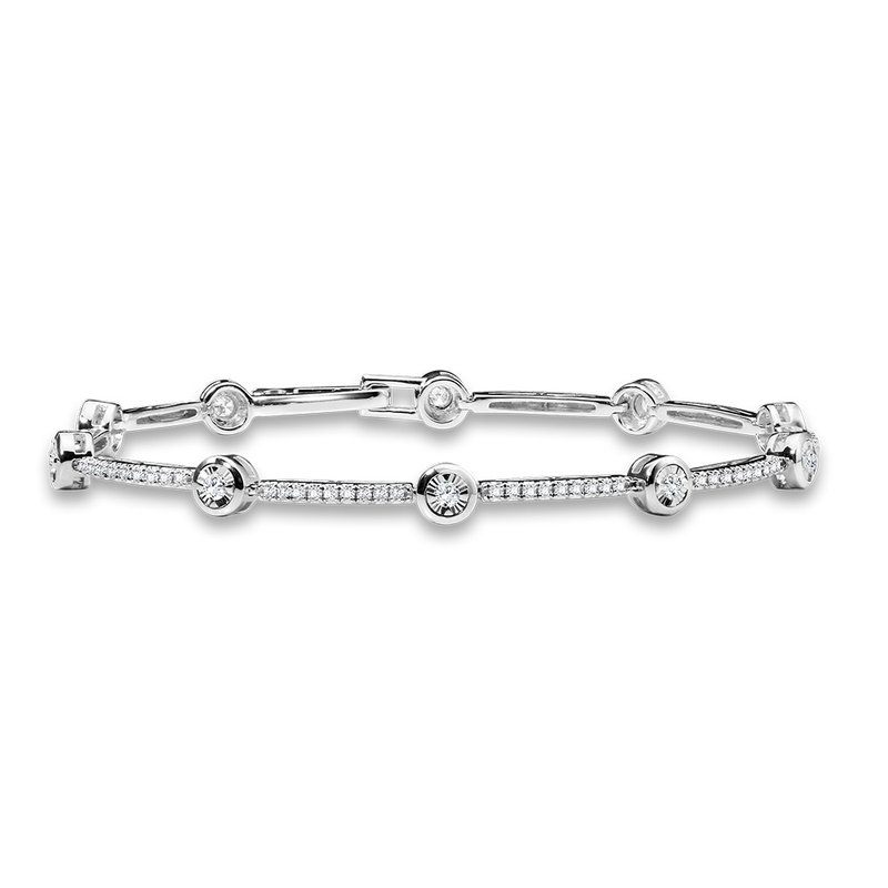 SDC Creations Bezeled & Miracle-Platted Tennis Bracelet