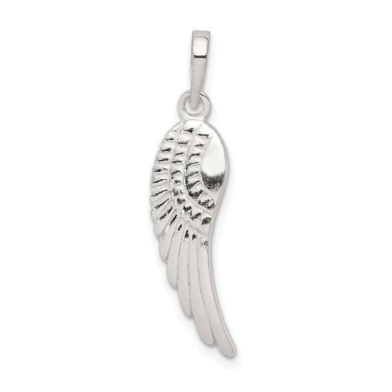 Quality Gold Sterling Silver Polished and Textured Angel Wing Pendant
