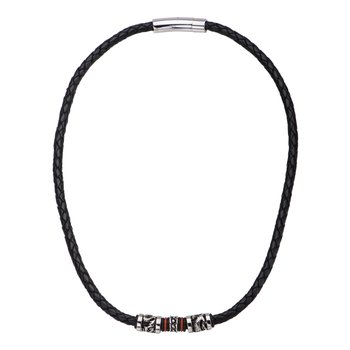 Black Leather with Red Orange Steel Necklace