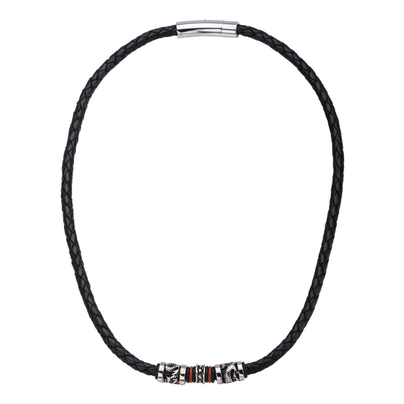 INOX Men's Jewelry Black Leather with Red Orange Steel Necklace