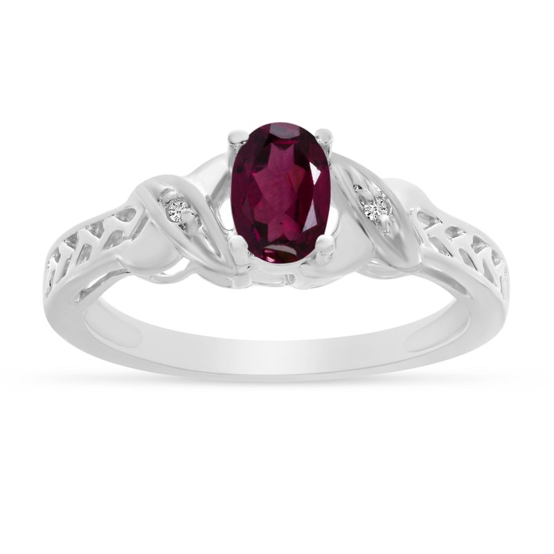 Color Merchants 14k White Gold Oval Rhodolite Garnet And Diamond Ring