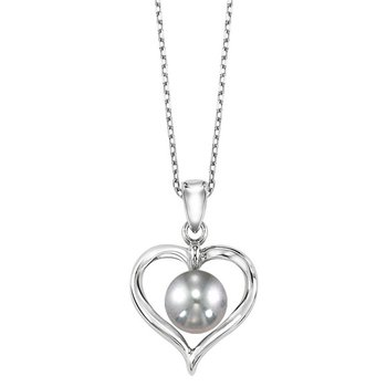 Cultured Silver Gray Pearl Ribbon Heart Pendant in Sterling Silver