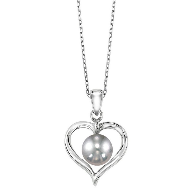 Gems One Cultured Silver Gray Pearl Ribbon Heart Pendant in Sterling Silver