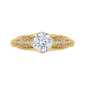 18K Yellow Gold Round Diamond Engagement Ring (Semi-Mount)