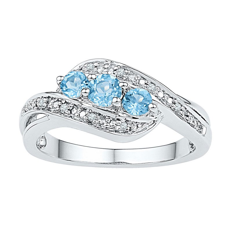 Gold-N-Diamonds, Inc. (Atlanta) Sterling Silver Womens Round Lab-Created Blue Topaz 3-stone Ring 1/2 Cttw