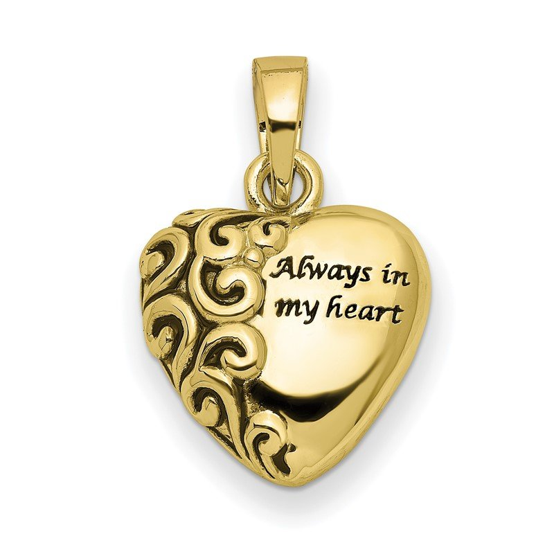 Quality Gold 10K Heart Remembrance Ash Holder Pendant