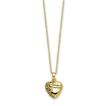 10K Heart Remembrance Ash Holder Pendant