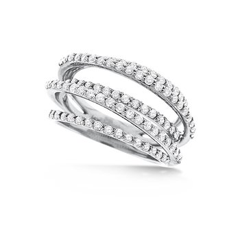 Diamond Small Rollercoaster Ring in 14k White Gold with 89 Diamonds weighing 1.01ct tw.
