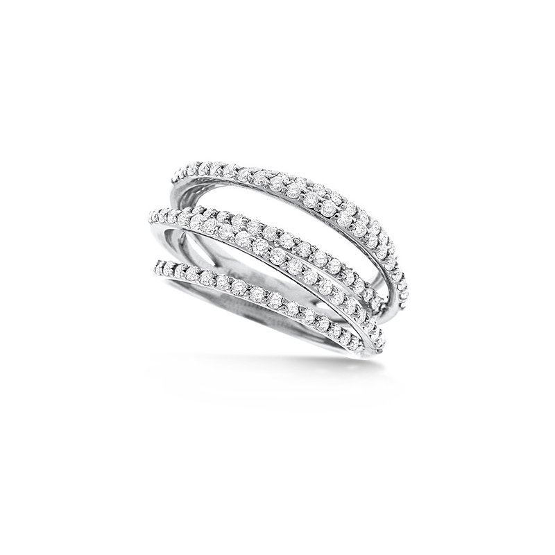 KC Designs Diamond Small Rollercoaster Ring in 14k White Gold with 89 Diamonds weighing 1.01ct tw.