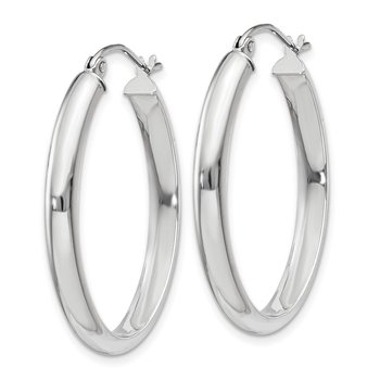 14k White Gold Polished 3.75mm Oval Tube Hoop Earrings