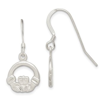 Sterling Silver Diamond-cut Claddagh Dangle Earrings