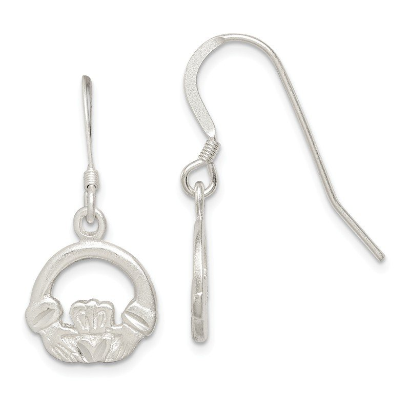 Quality Gold Sterling Silver Diamond-cut Claddagh Dangle Earrings