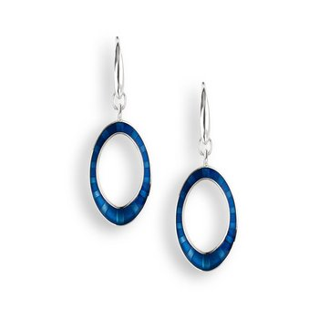 Blue Oval Wire Earrings.Sterling Silver