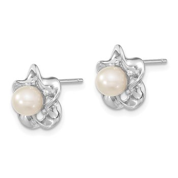 Sterling Silver Rhodium-plated Floral FWC Pearl Post Earrings