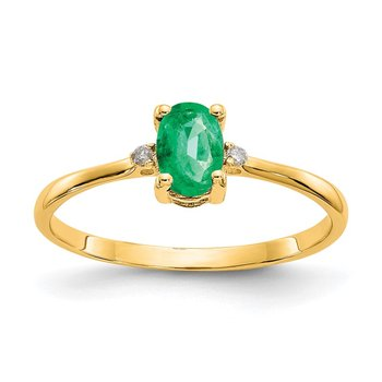 14k Diamond & Emerald Birthstone Ring