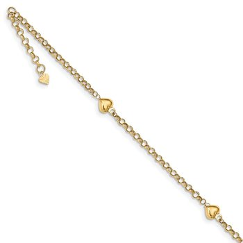 14k Puff Heart 10in Anklet