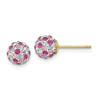 14k Post Multi-colored Crystals 6mm Ball Earrings