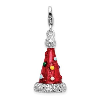 Sterling Silver 3-D Enameled Red Party Hat Charm