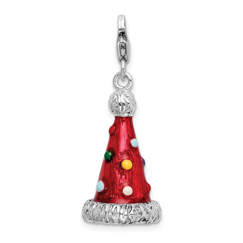 Quality Gold Sterling Silver 3-D Enameled Red Party Hat Charm