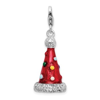 Sterling Silver Amore La Vita Rhodium-pl 3-D Enameled Party Hat Charm