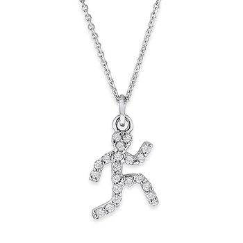 Diamond Small Running Man Necklace in 14k White Gold with 20 Diamonds weighing .10ct tw.