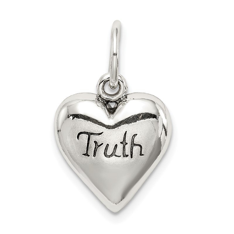 Quality Gold Sterling Silver Antiqued Truth Heart Pendant