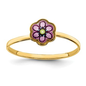 14K Enamel Flower Children's Ring